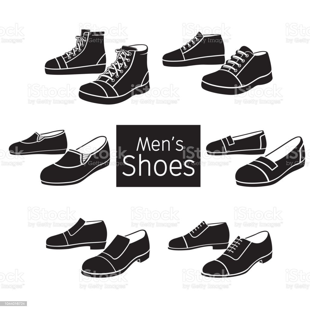 Collection Of Different Men's Shoes Pair, Monochrome