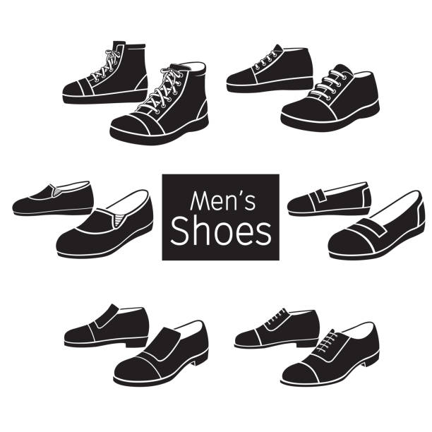 Collection Of Different Men's Shoes Pair, Monochrome vector art illustration