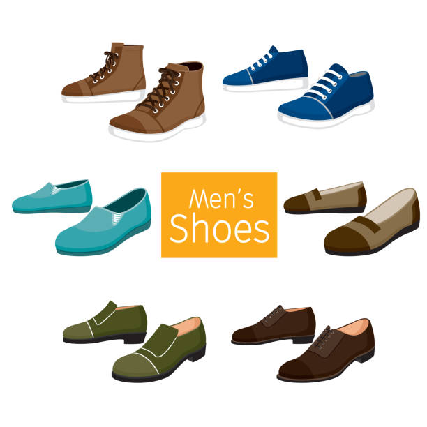 Collection Of Different Men's Shoes Pair Footwear, Fashion, Objects shoe stock illustrations