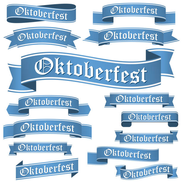 ilustraciones, imágenes clip art, dibujos animados e iconos de stock de collection of different oktoberfest banners - oktoberfest