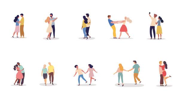 ilustrações, clipart, desenhos animados e ícones de coleção de diferentes casais românticos em um encontro - couple