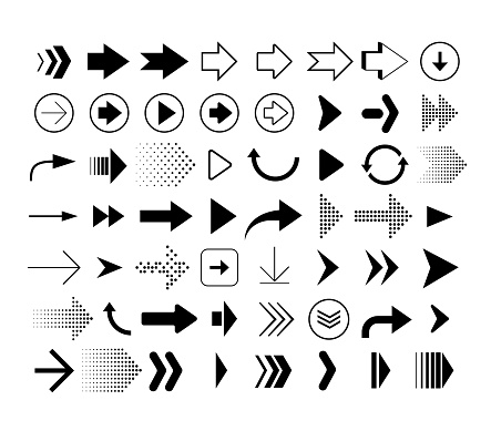 Collection of different shape arrows. Set of arrows icons isolated on white background. Vector signs