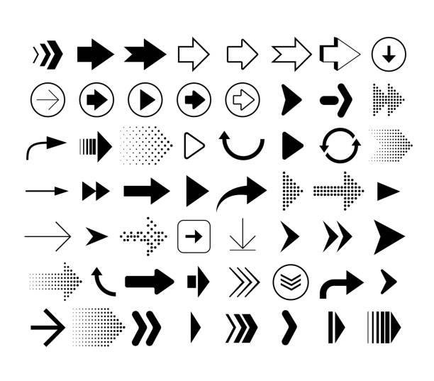 不同形狀箭頭的集合。在白色背景上隔離的箭頭圖示集。向量符號 - arrow 幅插畫檔、美工圖案、卡通及圖標