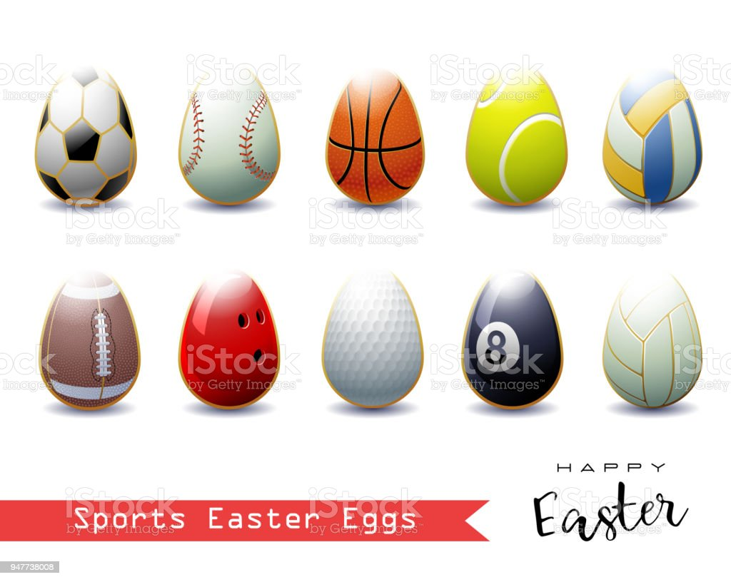 Collection of different Sports Easter Eggs . vector art illustration