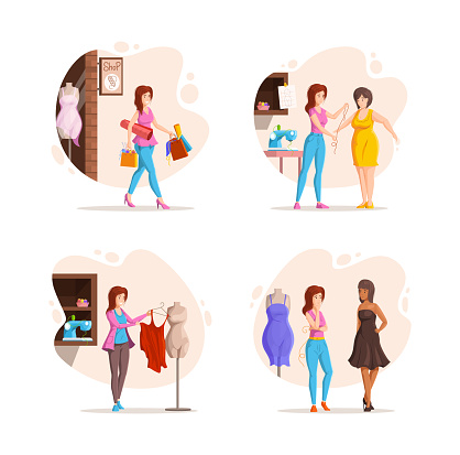 Collection of different stages woman fashion clothing designer work. Dressmaker working with mannequin and customer, trying dress, measurement, buying tissue