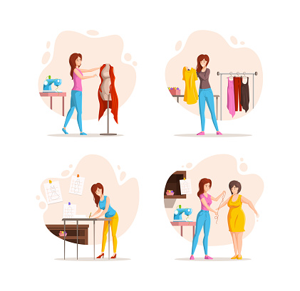 Collection of different stages woman fashion clothing designer work. Dressmaker working with mannequin and customer, trying dress, measurement, makes pattern on fabric isolated on white