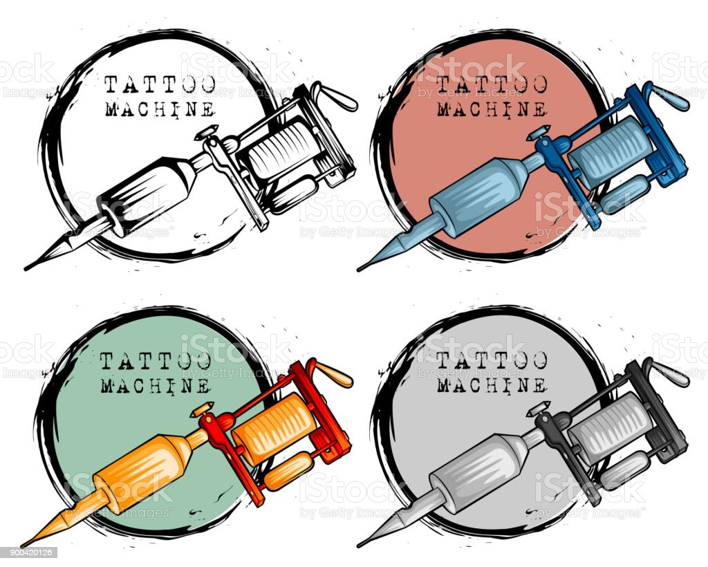 Collection Of Different Style Tattoo Machine Stock Vector Art More Circuit Diagram Royalty Free