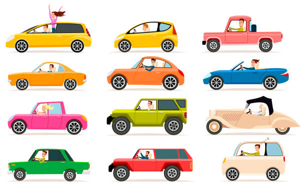 Collection of Different Types of Automobile Cabine Collection isolated vector icons of vehicles. Private transport illustration types of automobile bodies. Traffic, driver, jeep, pickup, sedan. For learning different cars. Toys, stickers, models convertible stock illustrations
