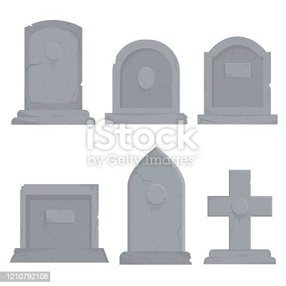 Collection of different various gravestones vector graphic illustration. Cartoon grey grave decoration set isolated on white background. Concept of funeral ceremony design