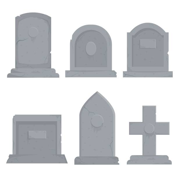 Collection of different various gravestones vector graphic illustration