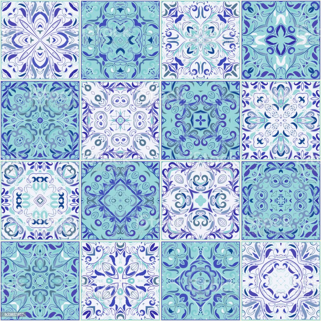 Collection Of Different Vintage Tiles Stock Vector Art & More Images ...