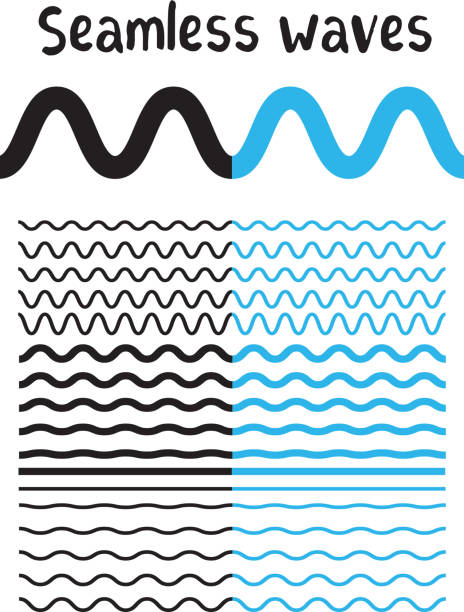 Collection of different wave isolated on white background. Vector big set of seamless wavy - curvy and zigzag - criss cross horizontal black and blue lines. Collection of different wave isolated on white background. Vector big set of seamless wavy - curvy and zigzag - criss cross horizontal black and blue lines. Graphic design elements variation zigzag and wave line borders. Wave line for design of decorative border, divider squiggle stock illustrations