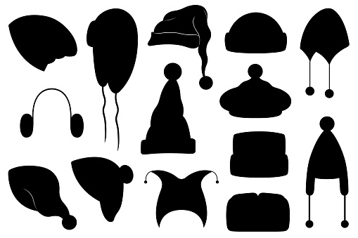 Collection of different winter hats