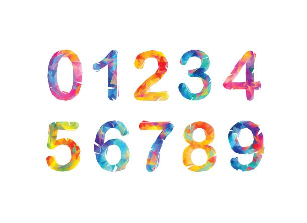 Collection of digits. Geometric numbers. Vector triangular figures vector art illustration