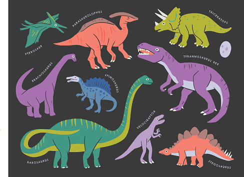 Collection of dinosaurs — hand-drawn vector elements