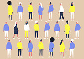 A collection of diverse characters of different gender and ethnicities, flat vector set of people