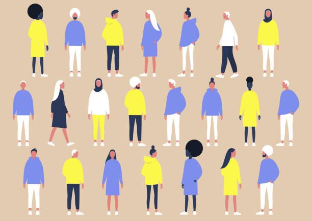 stockillustraties, clipart, cartoons en iconen met een verzameling van diverse karakters van verschillende geslacht en etniciteiten, platte vector set van mensen - jonge mannen
