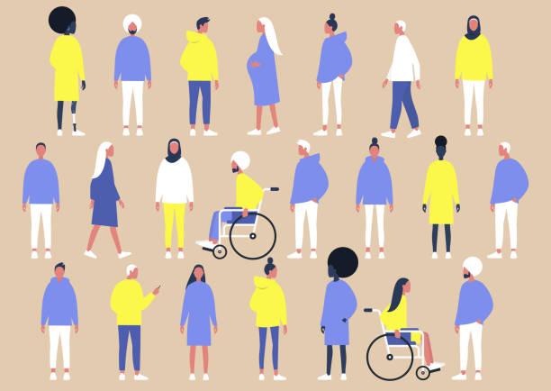 Een verzameling van diverse personages van verschillende geslacht, etniciteiten en fysieke omstandigheden, platte vector set van mensenvectorkunst illustratie