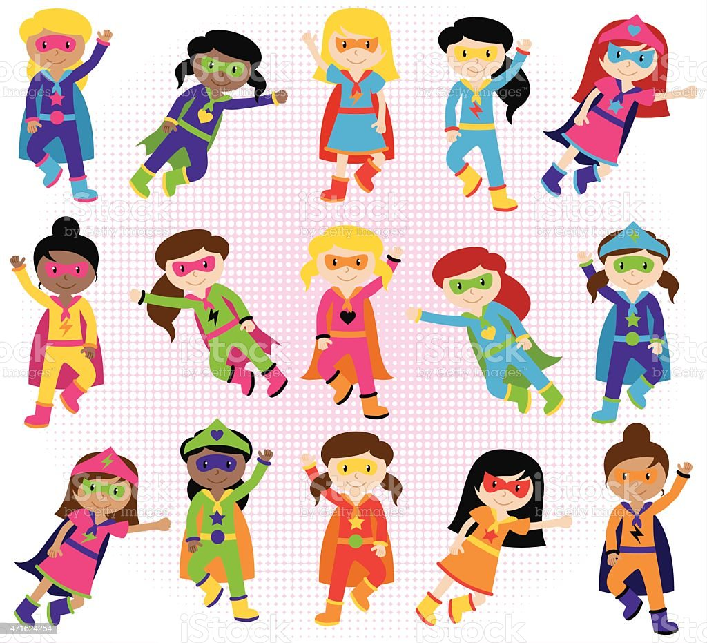 Collection of Diverse Group of Superhero Girls vector art illustration