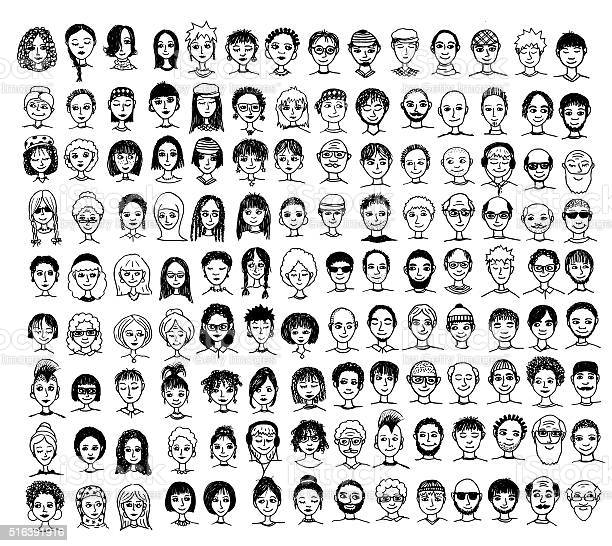 Collection of diverse hand drawn faces vector id516391916?b=1&k=6&m=516391916&s=612x612&h=iq2aswqsmiunxqym18gbxgcs8kifhnfagvbqvwcla5k=