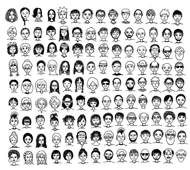 Collection of diverse hand drawn faces Collection of cute and diverse hand drawn faces in black and white community drawings stock illustrations