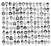 Collection of diverse hand drawn faces