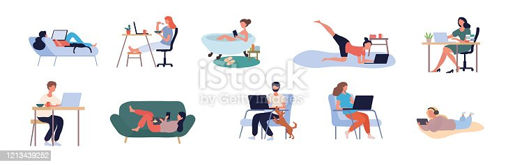 Collection of ten diverse people browsing the internet using assorted digital devices form business and leisure isolated on white for design elements, vector illustration