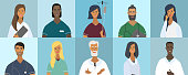 Collection of doctor portraits or avatars. Various faces: blonde, brunette, with beard, African American, trendy hairstyle. Teamwork of medical specialists. Vector illustration in cartoon style