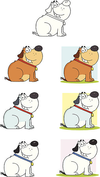 컬렉션 멍멍이 - 6 - 강아지 실루엣 stock illustrations
