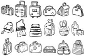Collection of doodle bags, backpacks, suitcases and beach bags. Coloring page or book for children and adults. Vector illustration.
