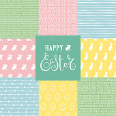 Collection of doodle Easter patterns