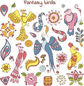 Collection of doodle fantasy birds and decorative elements for design