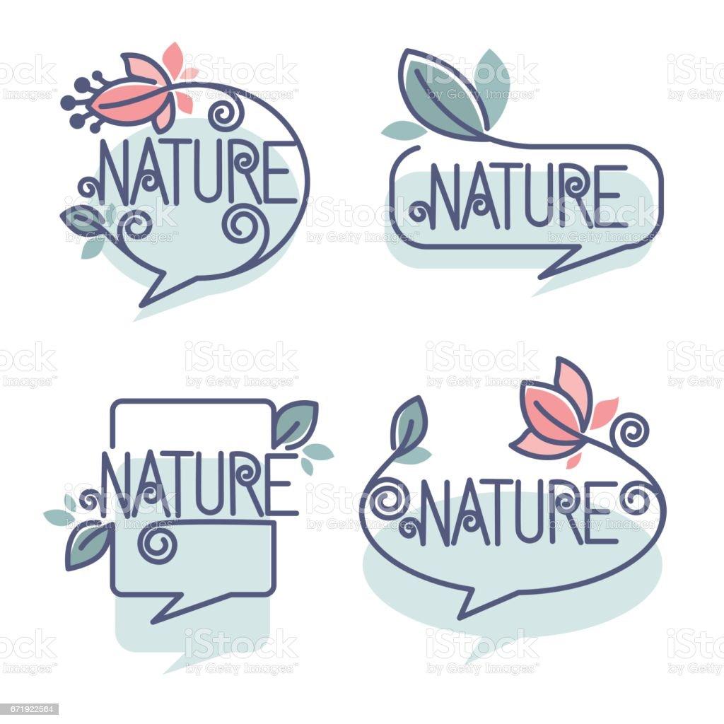 collection of doodle flowers emblems bubble frames stock vector art