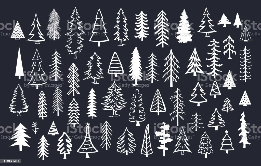 collection of doodle pine fir conifer trees in white color over black background