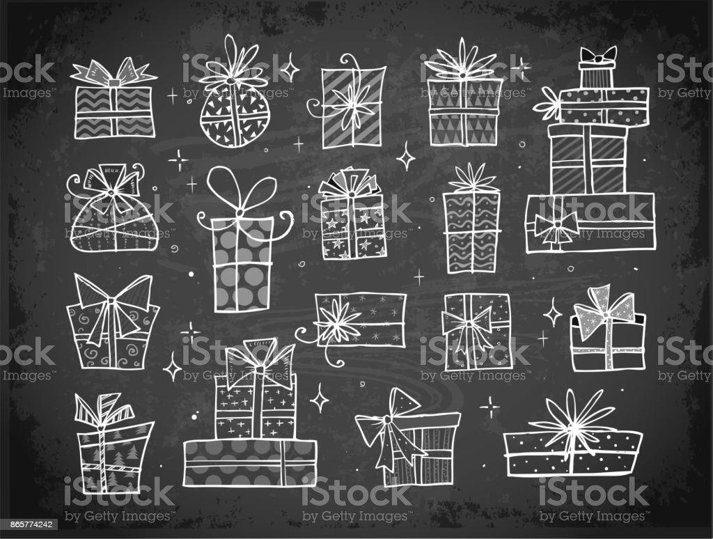 Sammlung Von Doodle Sketch Weihnachten Geschenkboxen Stock Vektor ...