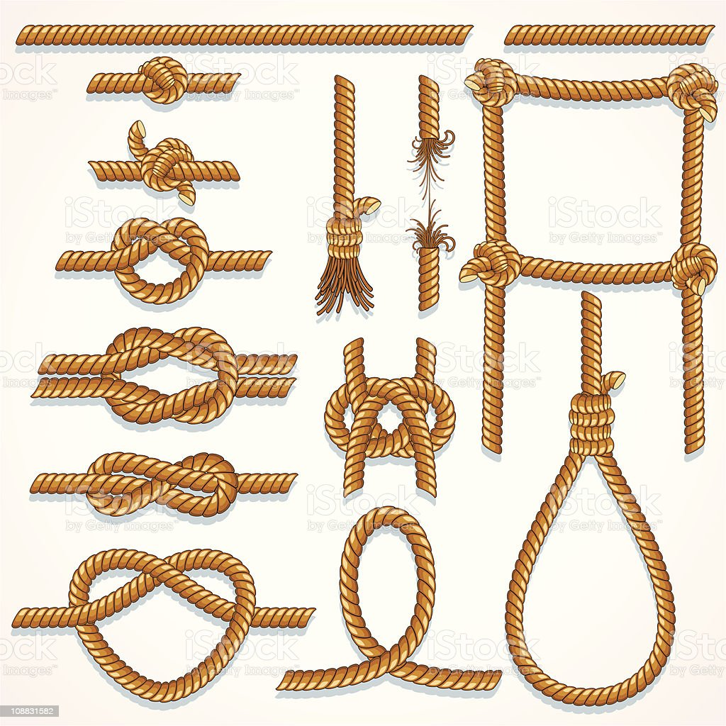 A collection of drawings of various ropes and knots royalty-free stock vector art