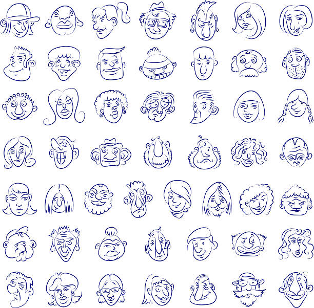 Collection of drawn funny faces vector art illustration
