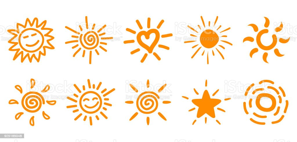 Collection of drawn sun icons, set 2 - Grafika wektorowa royalty-free (Akwarela)