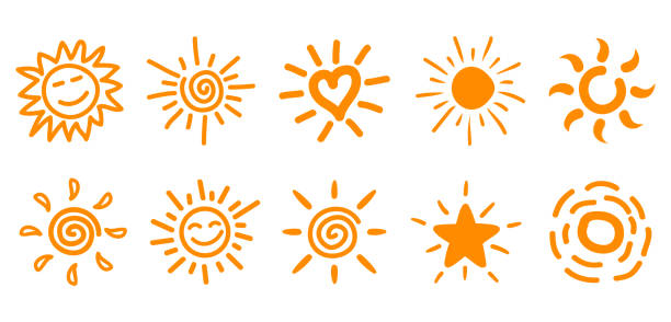 collection of drawn sun icons, set 2 - happy holidays stock illustrations