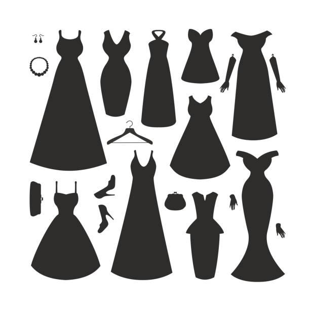 sammlung von kleidern und accessoires - couture stock-grafiken, -clipart, -cartoons und -symbole