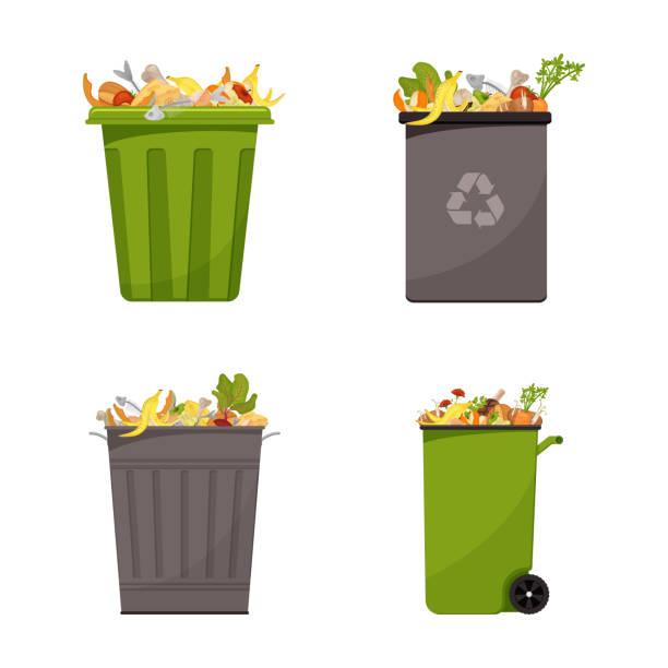 ilustraciones, imágenes clip art, dibujos animados e iconos de stock de recogida de contenedores llenos de residuos alimentarios - leftovers