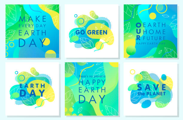 Collection of Earth Day posters Collection of Earth Day posters with gradient backgrounds,liquid shapes,tiny leaves and geometric elements.Earth Day layouts perfect for prints,flyers,covers,banners design and more.Eco concepts. earth day stock illustrations