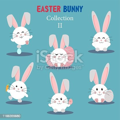 Collection of Easter bunny and egg. Happy Easter set. Cute rabbits. Vector illustration.