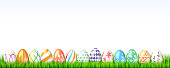 Collection of easter eggs on white background. Decoration for spring celebration of Easter with handmade eggs on green grass. Set of eggs with hand drawn paintings. Background for invitation, cover