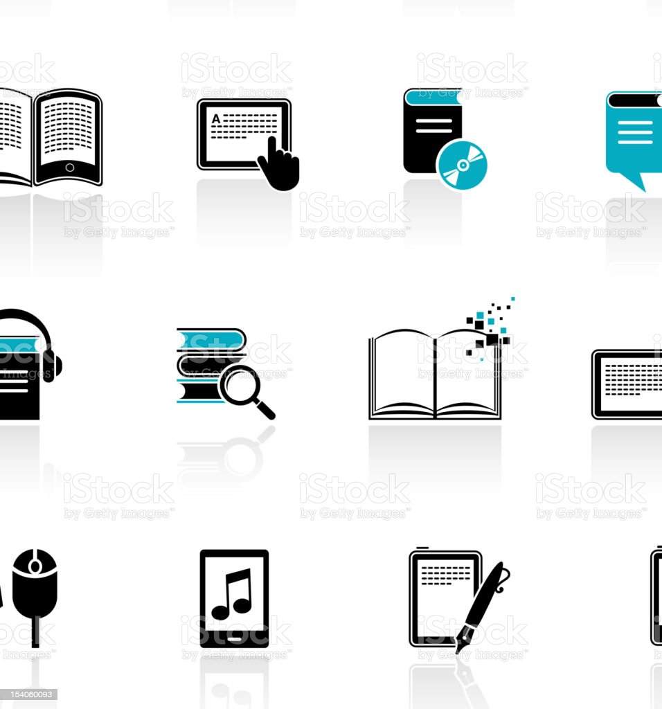 collection of E-book, audiobook and literature icons vector art illustration