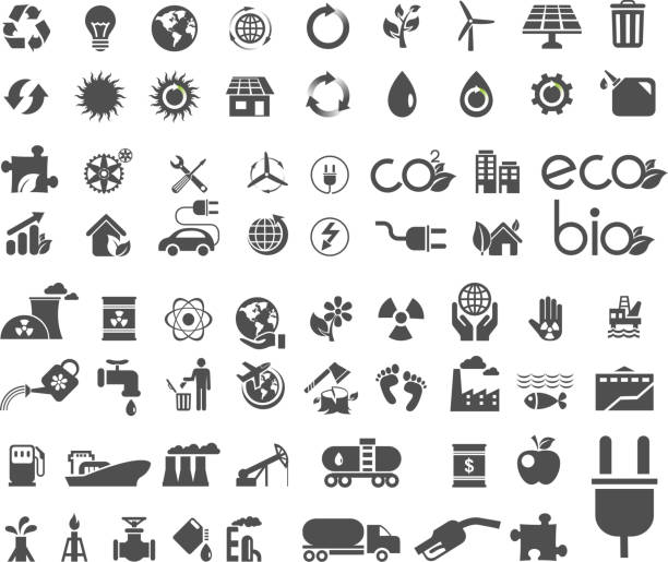 collection of ecology flat icons - environmental icons stock illustrations