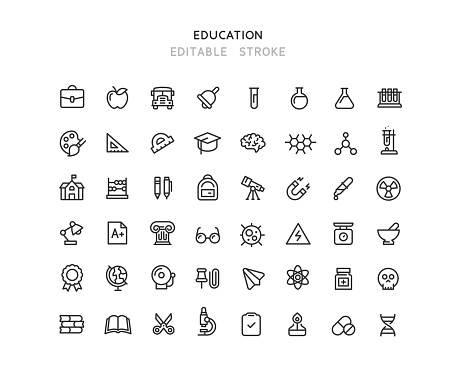 Collection of education and chemistry line vector icons. Editable stroke.
