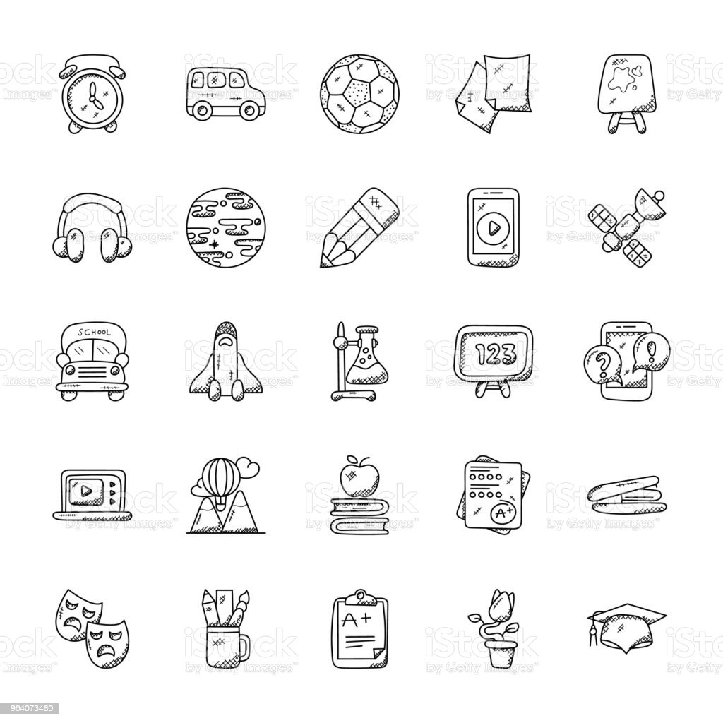 Collection of Education Icons - Royalty-free Adhesive Note stock vector