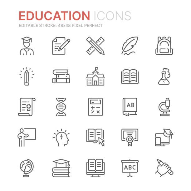 illustrazioni stock, clip art, cartoni animati e icone di tendenza di raccolta di icone di linea relative all'istruzione. 48x48 pixel perfetto. tratto modificabile - scuola