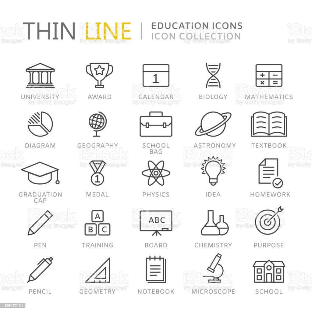 Coleção de ícones de linha fina de educação - ilustração de arte em vetor